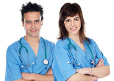 Couple of young doctors Stock Photography