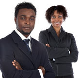 Couple of young executives. A over white background royalty free stock images