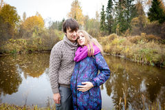 Couple of young future parents during pregnancy Royalty Free Stock Photo
