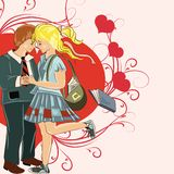 Couple of young girl and boy holding hands in drawn sketch style. Valentine's Day card with couple of girl and boy holding hands Royalty Free Stock Photos