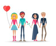 Happy Couples in Love, Pairs of Boys Girls Lovers. Couple of young girl with heart shaped balloon in hand and man with beard and their friends brunette female Royalty Free Stock Photo