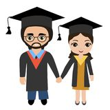 Couple of young graduating students royalty free illustration