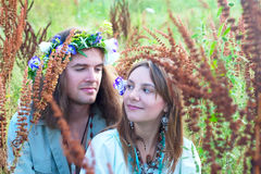 Couple young hippie Stock Photos