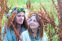 Couple young hippie Stock Photos
