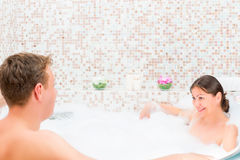 Couple of young lovers  in Jacuzzi Royalty Free Stock Photo