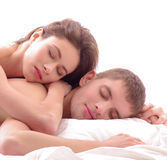A couple of young lovers sleeping together Royalty Free Stock Images