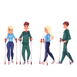 Couple of young, male and female, adult nordic walkers. Couple of young adult nordic walkers, cartoon style vector illustration isolated on white background. Man Stock Image