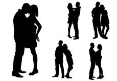 Couple. Young man and girl standing and embracing Royalty Free Stock Images