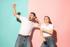 A couple of young man and woman dancing hip-hop at studio. Stock Photography