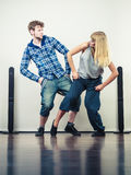 Couple of young man and woman dancing hip-hop Stock Photo