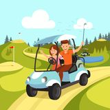 Couple of Young Man and Woman Driving Golf Cart