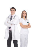 A couple of young medical workers in white clothes Royalty Free Stock Photo
