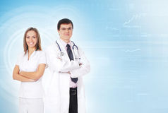 A couple of young medical workers in white clothes Stock Photo