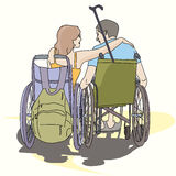 Couple young people in love in wheelchairs Royalty Free Stock Images