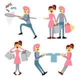 Couple of young people shopping. Young woman with packages. Girl with a net catches discounts. stock illustration