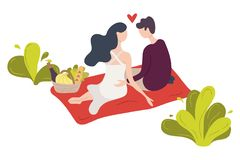 A couple of young people sitting on a blanket in a park. A pair of man and woman in love stock illustration