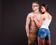 Couple of young sexy lovers Stock Photos