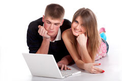 Couple young student with laptop Stock Image