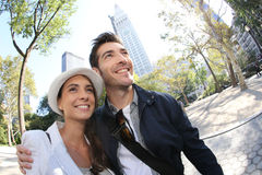 Couple of young tourists hanging out in new york city Stock Photography