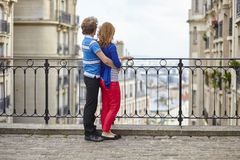 Couple of young tourists on Montmartre Stock Image