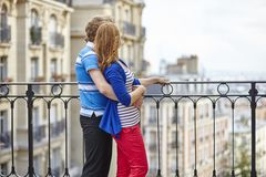 Couple of young tourists on Montmartre Royalty Free Stock Photography