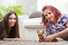 Couple of young women playing with a small dog Stock Photos