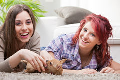 Couple of young women playing with a small dog Royalty Free Stock Photo