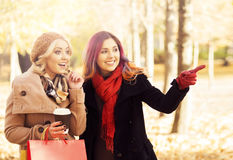 Couple of young women with shopping bags in the park Royalty Free Stock Photography