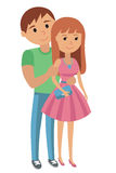 Couple younger man and woman hugging. Vector illustration  on white background hand drawing of couple students  in love st Stock Image