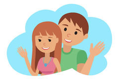 Couple younger man and woman waving his hand in cloud icon. Vector illustration on white background drawing. Couple younger man and woman in cloud vector stock illustration
