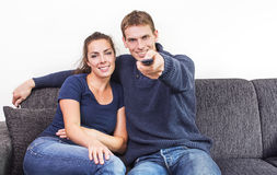Couple zapping Royalty Free Stock Images