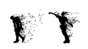 Couple zombies on white. Illustration of two black color silhouettes with flying parts isolated on white background Stock Image