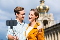 Couple at Zwinger in Dresden taking selfie Stock Photos