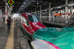 The coupled E5(Green)/E6(Red) High-speed trains. Royalty Free Stock Photo