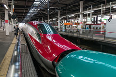 The coupled E5(Green)/E6(Red) High-speed trains. Stock Photography