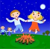 Couplel jump over fire in Ivan  holiday scene. Boy and girl jump over fire in Ivan Kupala night (07.07 Russia, Ukraine),  illustration Stock Photo