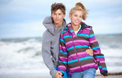 CoupleRomantic autumn beach Stock Photography