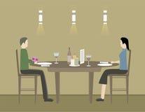 Couples à un restaurant Images libres de droits