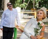 Couples âgés. Datte. Vacances Image libre de droits