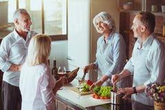 Couples âgés gais faisant cuire dans la cuisine Photographie stock libre de droits