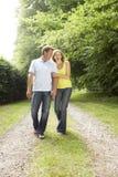 Couples âgés moyens marchant dans la campagne images libres de droits