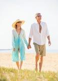 Couples âgés par milieu appréciant la promenade sur la plage Image libre de droits