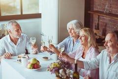 Couples âgés par positif appréciant le dîner de fête Photographie stock libre de droits