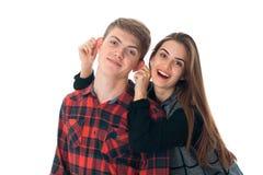 Couples élégants dans l'amour dans le studio Photographie stock