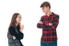 Couples élégants dans l'amour dans le studio Image libre de droits