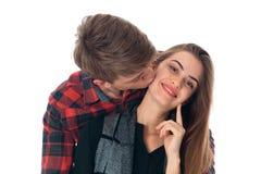 Couples élégants dans l'amour dans le studio Photographie stock libre de droits