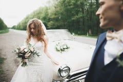 Couples élégants de mariage, jeune mariée, marié embrassant et étreignant sur la rétro voiture Photo stock