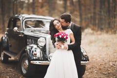 Couples élégants de mariage, jeune mariée, marié embrassant et étreignant sur la rétro voiture Images stock