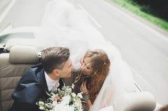 Couples élégants de mariage, jeune mariée, marié embrassant et étreignant sur la rétro voiture Image libre de droits