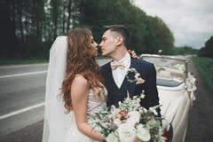 Couples élégants de mariage, jeune mariée, marié embrassant et étreignant sur la rétro voiture Photographie stock